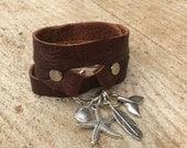 Brown leather bracelet, Leather bracelet, silver charm bracelet, wrapped leather bracelet, nautical leathet bracelet, contemporary bracelet