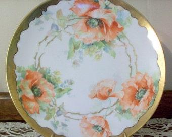 "Vintage O & EG Royal Austria Plate 9"" Gold Trim Orange Poppies"