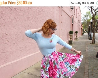 On Sale 25% off Custom made floral skirt,Purple Flowers skirt, midi skirt