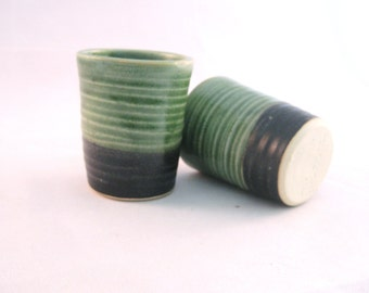 Small Shot Glass - Whisky mug cup tumbler - Glazed in Bright Green and Black