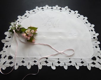 Vintage French Baby Pillow Cover with Hand Embroidered 'Bebe' for Nursery