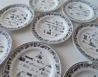 French Antique Plates Group of 8 Rebus Theme c.1834