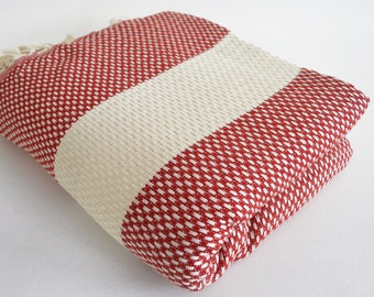 SALE 50 OFF/ Blanket / No1 Red / Bedcover, Beach blanket, Sofa throw, Traditional, Tablecloth