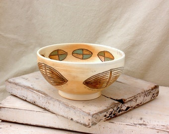 Ceramic Wood Soda fired Bowl with Pod Carvings, 2