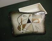 Atomic,Trinket Box , Ceramic Cigarette box, Vintage Ceramic Box, Jewelry box, catchall box