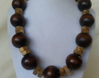 Wood and Brass Necklace - Hardware Geek Jewelry
