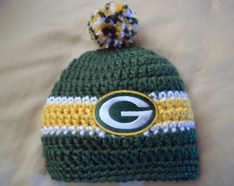 Green Bay Baby hat for Newborn to 18 months- Packers team colors
