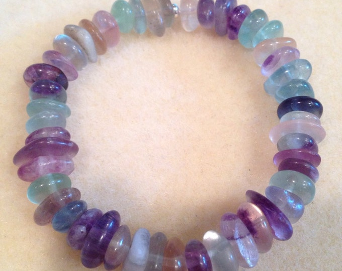 Rainbow Purple, Blue, Yellow & Green Fluorite 11mm Nugget Button Stretch Bead Bracelet with Sterling Silver Accent