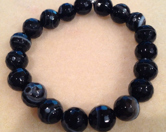 Black Cameo Agate 10mm Faceted Round Bead Stretch Bracelet with Sterling Silver Accent