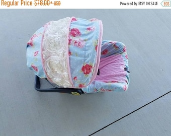 Summer SALE Sweet Floral 3D rose accent Infant car seat cover with optional 3d rose accent blanket - Custom Order with FREE Strap Covers