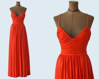 1970s Full Length Red Dress size XS
