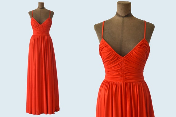 1970s  Ruched Long Red Gown size XS