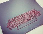 Vintage typewriter keys embroidered mousepad