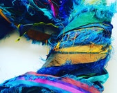 Premium quality sari silk ribbon, Unique eyelash edging, Amazing soft silk, 5 yards, Pure iredescent silk sari ribbon.