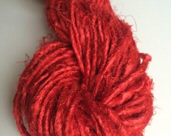 Banana yarn. Tomato Red. 50g, Art yarn. Pearly sheen. Vegan friendly yarn. Jewelry making yarn, fairy trade yarn.