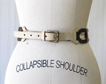 Vintage 60s Belt | 1960s Leather Interlocking Link Belt | Front Buckle | Rocker, Disco, Mod | Size Medium