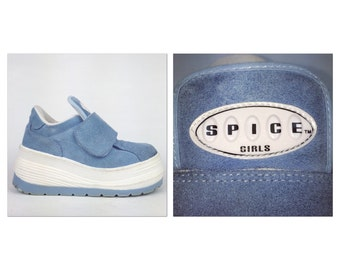 90's Spice Girls Official Vintage Powder Blue Leather Chunky Platform Wedge Sneakers  // 6