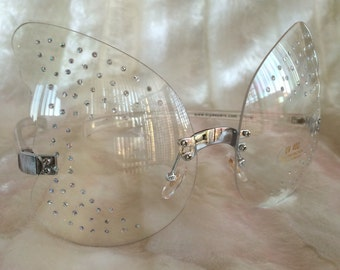 90's Kawaii Butterfly Pink and Clear Lense Sunglasses // Deadstock