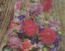 Vintage Lenticular (3D) Floral Bouquet in a Basket Postcard, 1968