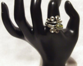 Shimmering Green Wire Wrapped Ring