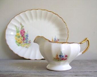 Sovereign Potters Gravy Boat , Vintage Earthenware Sauce Dish , Floral Hollyhocks , Cottage Chic Decor