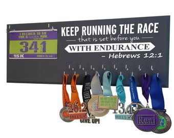 Running Medal Holder and Race Bib Hanger - running medal rack race bib holder - Hebrews 12:1 Keep Running the race that is set before you