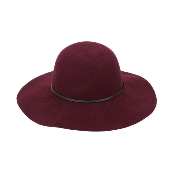 Wool Floppy Hat in Wine