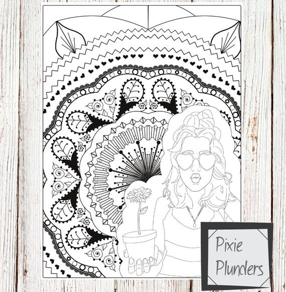 Heart Sunglasses Colouring Page - INSTANT DOWNLOAD