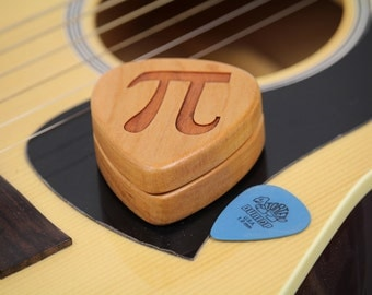 "PI, Guitar Pick Box, 2-1/4"" x 2"" x 3/4"" D, Pi, Pattern G10 slender, Solid Cherrywood, Laser Engraved, Paul Szewc"
