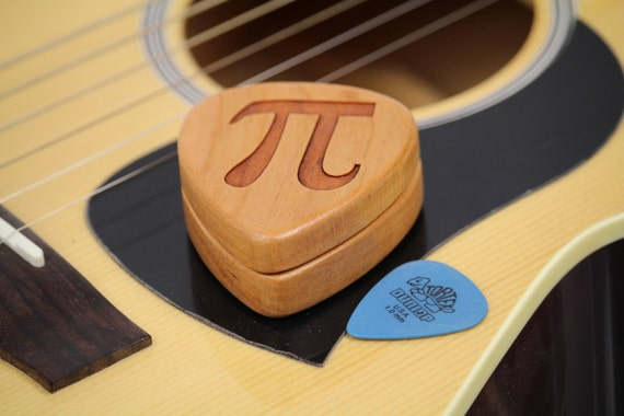 "PI, Guitar Pick Box, 2-1/4"" x 2"" x 3/4"" D, Pi, Pattern G10 slender, Solid Cherrywood, Laser Engraved, Paul Szewc"