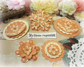 Creamy Collection Ivory and Salmon Paper Embellishments and Paper Flowers for Scrapbooks Cards Mini Albums and Papercrafts