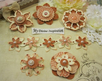 MME Indie Chic Saffron Handmade Orange Black Paper Embellishments and Paper Flowers for Scrapbook Layouts Cards Mini Albums and Papercrafts
