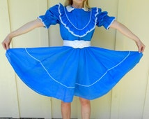 Vintage 1960s JERI BEE blue & white ruffled square-dancing dress, size Small / Medium