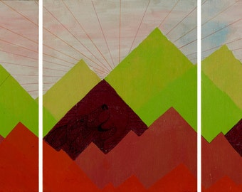 Where They Are Tryptic Painting acrylic on wood landscape surreal mountains beasts wild animals line drawing green orange starburst hipster