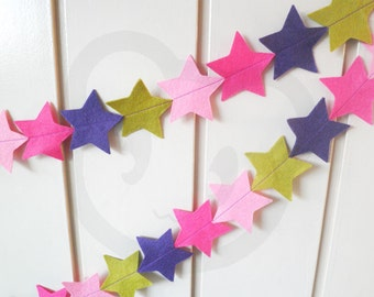 Berryful Star Bunting - made with wool blend felt in berry colourful colours, perfect for kids room or birthday