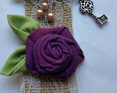 Burlap Brooch Pin with Fabric Rose and Pearls