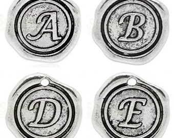 "Add On Initial ""A-Z"" Charm, personalized letter charm, monogram, Personalized Keychain, Personalized Necklace, antiqued silver plated charm"