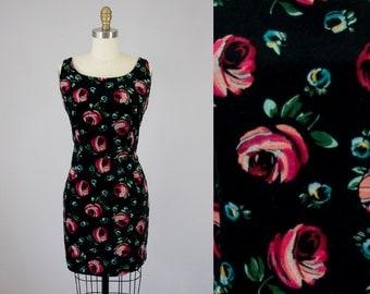 90s Vintage Velvet ESPRIT Floral Print Short Dress. Deadstock (M)