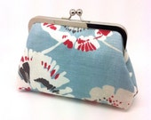 JOAN11 RESERVED Pale Blue Clutch Coin Purse Wallet Linen Brown Silk Blood Red Floral Kiss Lock Metal Silver Frame