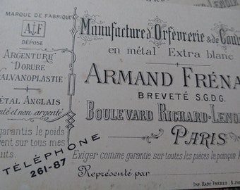 Charming batch antique French calling cards of a  PARIS orfeverie silvermith c1900 Amand Frenais