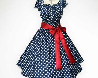 Blue & White Polka Dot 50s Pin up Rockabilly Swing Party Prom Dress Full Swing Skirt Regular and Plus Size