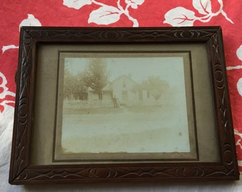 Framed Photo of LS Caples at his Home in Newport, Tuscarawas County Ohio