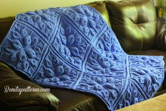 Vogue Knitting Leaf Blanket Pattern : CROCHET PATTERN Embossed Leaves Blanket NEW Embossed