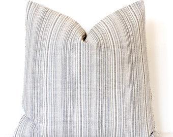 Blue and Cream Striped Designer Decorative Pillow Cover Accent Cushion cottage farmhouse strie stripes stripe black grey gray neutral beige