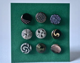 9 Vintage Assorted Czech Glass Buttons in Black with Gold and Silver Highlights