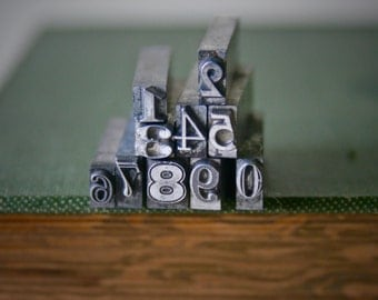 Vintage Printers Type Drilled and Polished Add On Numbers and Letters for Unisex Pendants