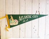 Vintage Atlantic City New Jersey Souvenir Pennant - Bathing Beauty at the Beach - Mid-Century 1950s