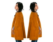 Vintage Vtg Vg 1970's 70's 1960's 60's Rust Colored Suede and Leather Poncho Hippie Retro Boho Women's One Size Coat/ Spring / Summer