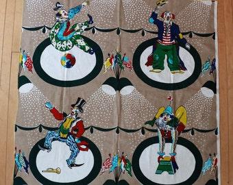 Vintage Vtg Vg 1950's 50's 1960's 60's Circus Clowns BARKCLOTH Bark Cloth Table Cloth Fabric