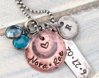 Personalized Mixed Metals Birthstone Family Necklace -- Mothers Stamped Jewelry